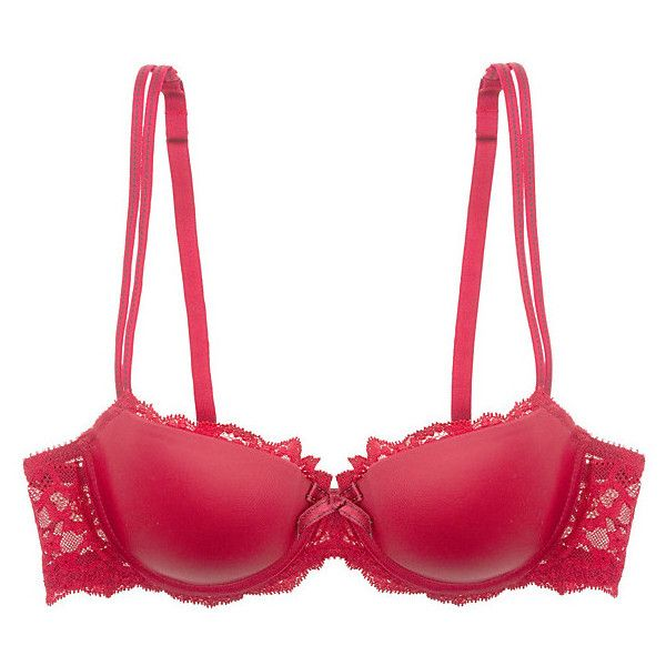 Chantelle Rive Gauche T-Shirt Bra ($78) ❤ liked on Polyvore featuring intimates, bras, lingerie, red, tshirt bra, chantelle bras, red bra, strap bra and t shirt bra