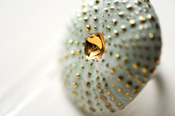 Turquoise Sea Urchin 22k Gold  Porcelain by PorcelainAndStone, $84.00