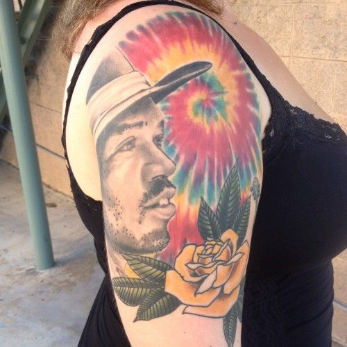 Jimmy Hendrix rose tie dye tattoo by Josh Damnit Wiscovitch