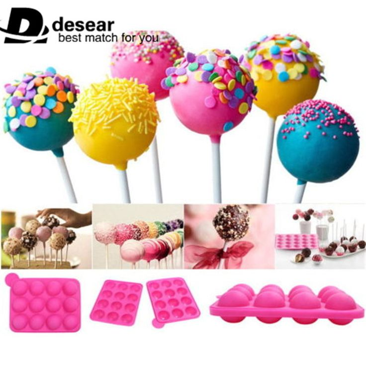 - Cake pop mold. - Made of silicone. - 12 cavities. - Pink.