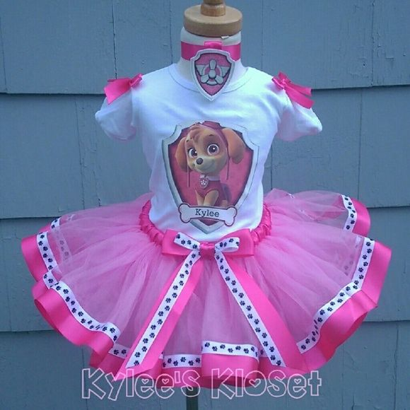 Paw Patrol, Skye birthday outfit, tutu Beautiful ribbon trimmed tutu. Features ribbon with small paw prints.   Custom shirt or onesie.  Pup tag collar.   Available in sizes 12 months up to 3t