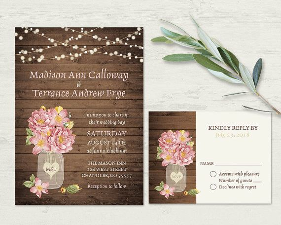 Mason Jar Wedding Invitation Rustic Set Country Blush Floral Invite RSVP Barn Printable Hanging Lights Template Kit