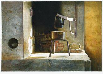 Kaffedags / Coffee Time, 1994 - Stanislaw Zoladz - 37cm x 53.5 cm, watercolor