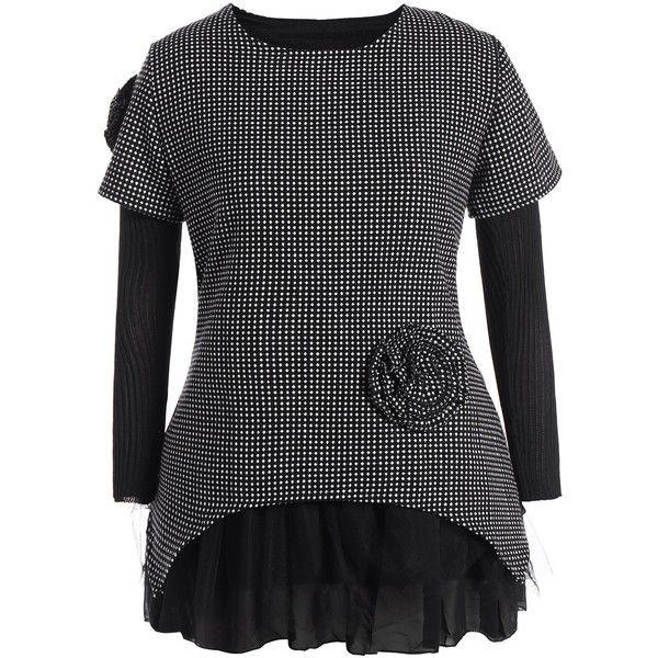Polka Dot Plus Size Tulle Panel Mini Dress (470 MXN) ❤ liked on Polyvore featuring dresses, panel dress, dot dresses, womens plus dresses, plus size day dresses and plus size mini dresses