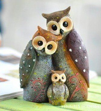 Owl family ~ They didn't come with a name ~ I think I'll call them Oliver, Olivia, and Ozzie!