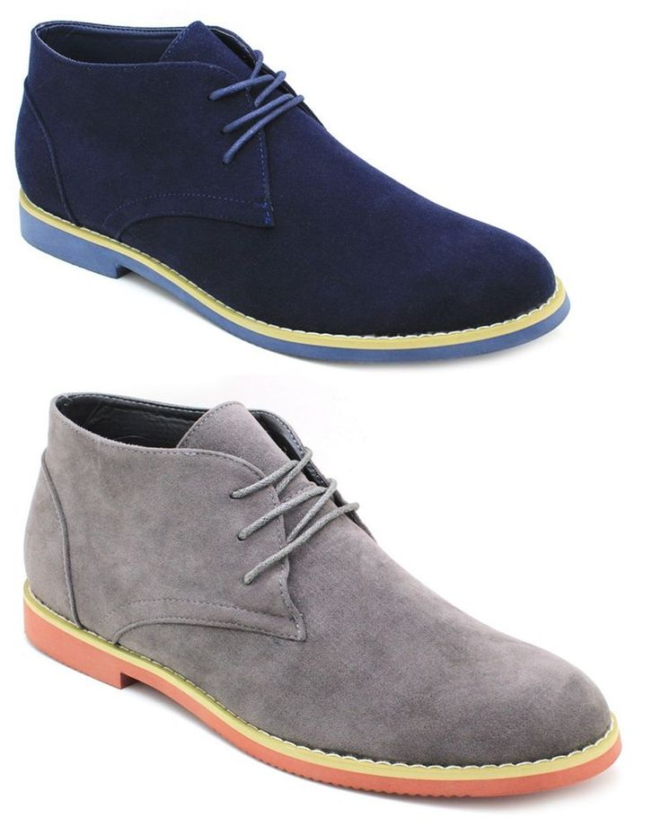 New Men's Alberto Fellini Ankle Boots Rubber Sole Chukka Lace Up Navy Blue Gray