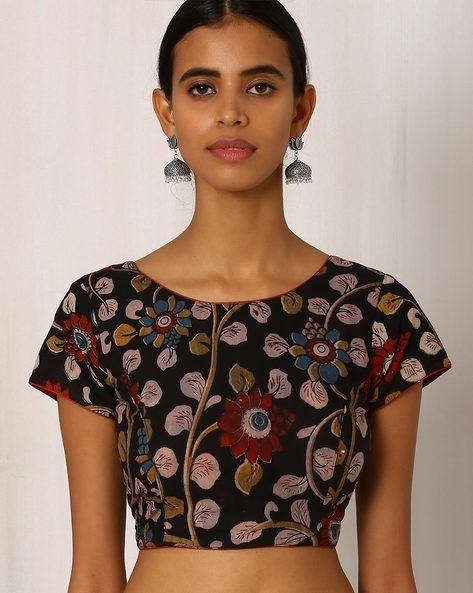 Buy Black Indie Picks Kalamkari Print Cotton Blouse | AJIO