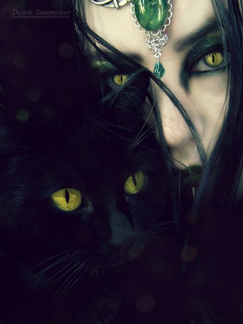 Green Eyes. Witch and her Black Cat. Fantasy Photography. -- Awesome MTG Card Image here folks!