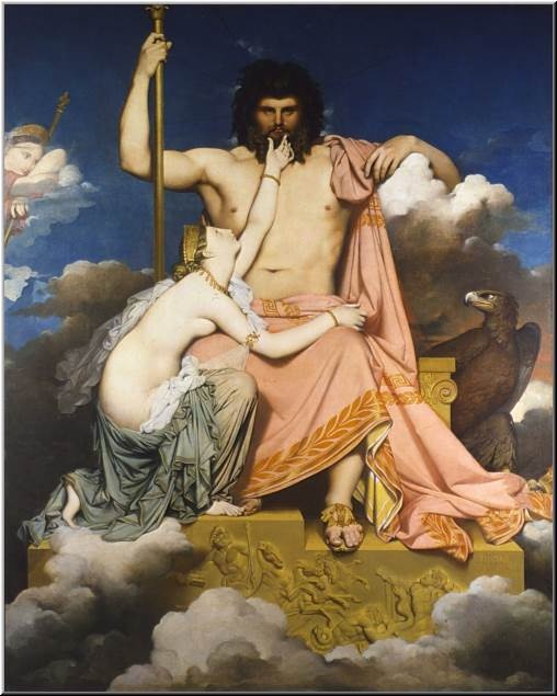 Ingres, Jupiter et Thétis  I love the contrast between the soft supple Thetis and the mountain of Jupiter
