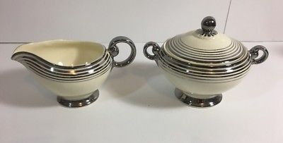 Taylor Smith & Taylor China Trimmed in Silver Creamer And Sugar