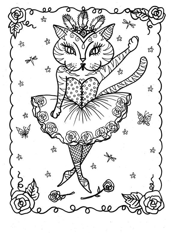 591 best Color Pages Cats images on Pinterest Coloring books