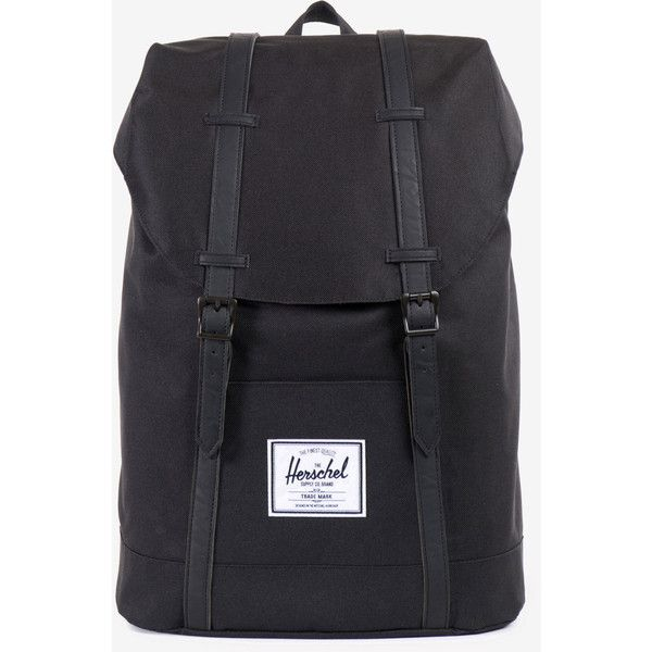 Herschel Supply Retreat Backpack - Black/Black (£70) ❤ liked on Polyvore featuring bags, backpacks, herschel backpack, black bag, black canvas bag, canvas bag and backpacks bags