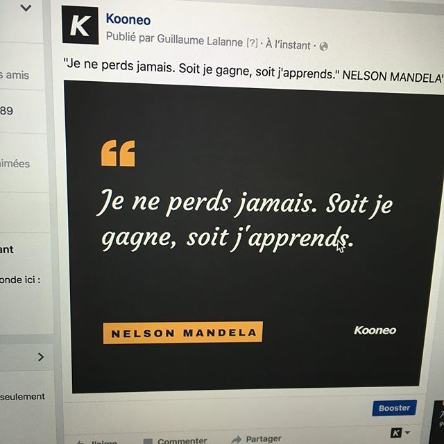 """Je ne perds jamais. Soit je gagne, soit j'apprends."" NELSON MANDELA https://www.instagram.com/p/BHcMbIehtm59MdAWwPWvv6S0FHzb42cVCNte040/"