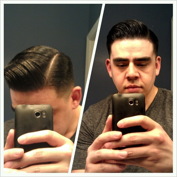 Pomped it up today for a new video #Layrite #Pomade #GroomingSpray #LayriteSuperShine #Barbershop #Classic #Vintage #Gentleman #Haircut #Fade #Sidepart #Sharp #Part #Pomp #Pompadour #1950s #1940s #Rockabilly #Style #Class #MensHair #HairStyle #StayRiteWithLayrite