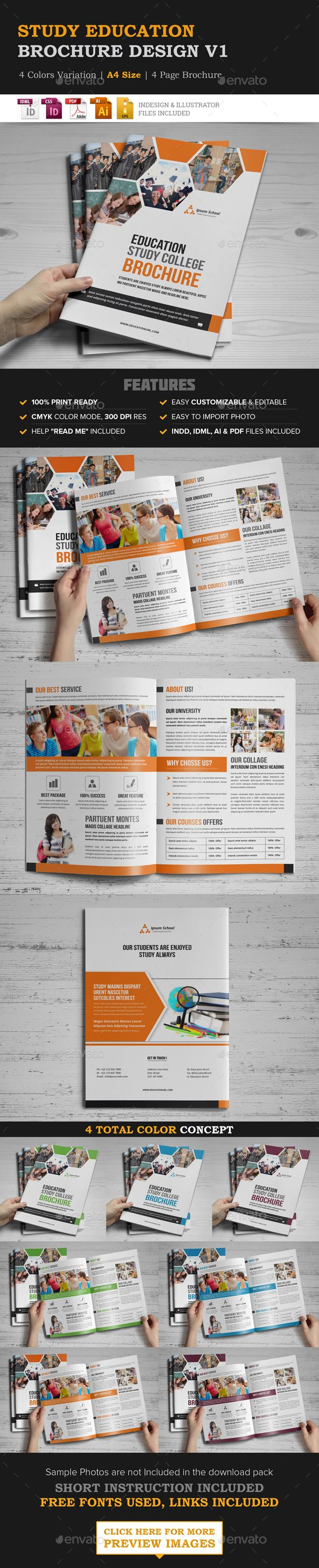 Education Brochure Design Template Vector EPS, InDesign INDD, AI Illustrator. Download here: http://graphicriver.net/item/education-brochure-design/16597539?ref=ksioks