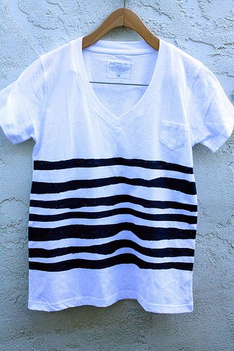 DIY striped shirt with tape and acrylic paint