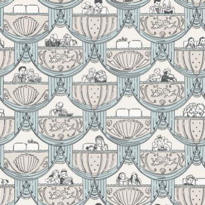 Overture Blue (264820) - Albany Wallpapers - A fun and vibrant wallpaper featuring a motif of stylized theatre boxes occupied by various theatre goers. Shown here in the pale blue colourway. Other colourways are available. Please request a sample for a true colour match. Paste-the-wall product.