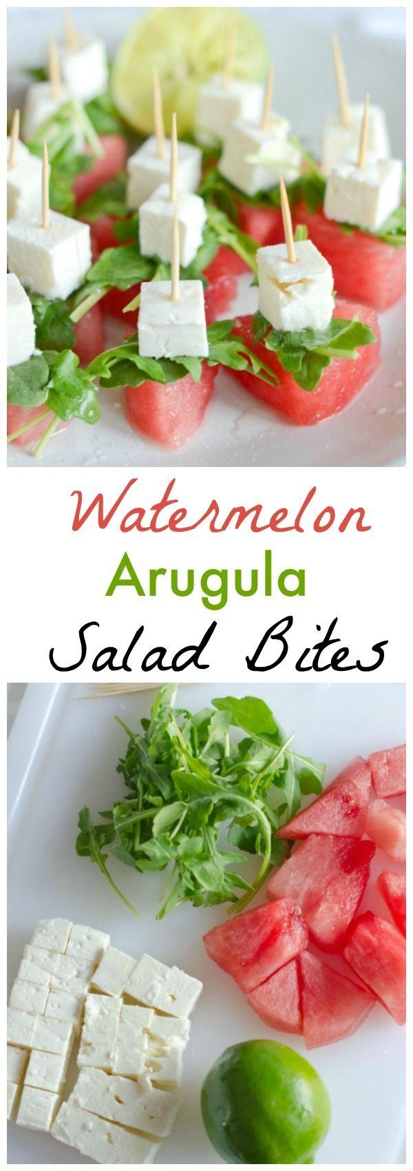 Watermelon Arugula Salad Bites Recipe | Healthy Appetizer