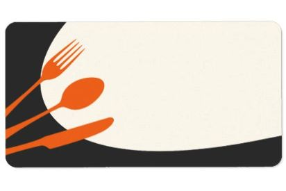 Gray orange blank modern canning baking kitchen labels. A modern blank label with a clean and sleek design featuring an orange outline of a spoon, knife, and fork on a dark gray and slightly off-white / cream colored, curved background. The image can symbolize food, eating, a restaurant etc. Elegant, contemporary design. Perfect as baking labels for labeling your homemade cans, jars and preserves. Add your custom text by clicking the customize it button.