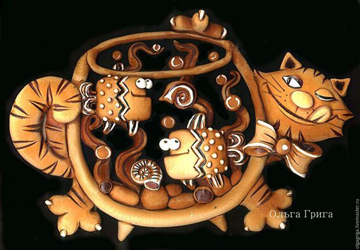 Купить Панно. Соленое тесто. Котик с рыбками. - коричневый, соленое тесто, Лепка, панно на стену