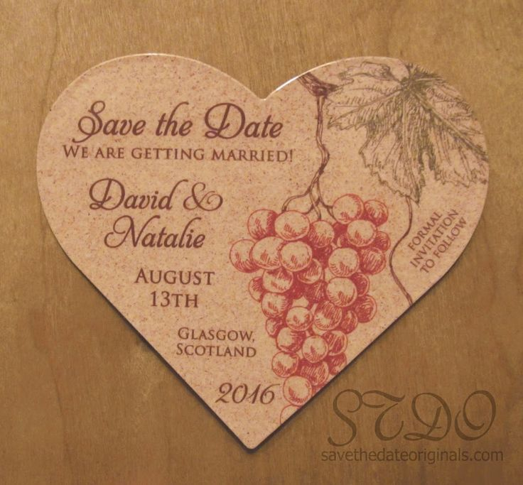 A heart shaped save the date magnet with a wine themed wedding of corkboard background pattern + sketched cluster of grapes.  Vineyard and winery weddings.