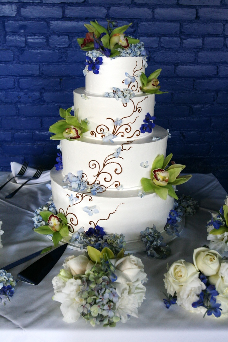 blue green and white wedding cakes 7 best cakes with orchids images on beautiful 11988