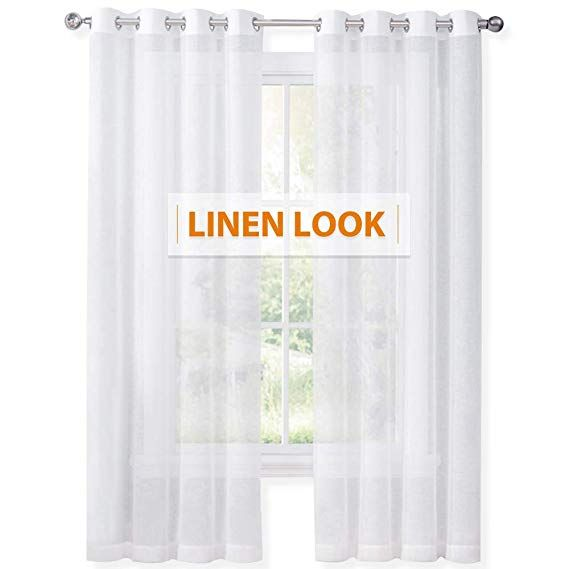 Ryb Home 84 Inch White Sheer Curtains For Living Room Thick Linen Weave Textured Look Voile Sheer Semitran White Sheer Curtains Grommet Curtains White Curtains