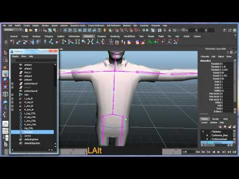 Basic bipedal character rigging setup in Maya - Part 4 of 8 - YouTube