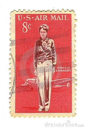 Born on the 24th July 1802 (Amelia Earhart)- © Fabrizio Zanier | Dreamstime.com- Old postage stamp from USA 8 cent - Amelia Earhart