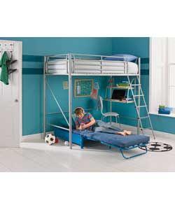 Sit 'n' Sleep Metal High Sleeper Bed Frame - Blue Futon.