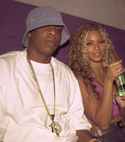 Yessss!!! Jay-Z and Beyonce. The Beginning. This pic just SCREAMS the early 2000's for me...love it.