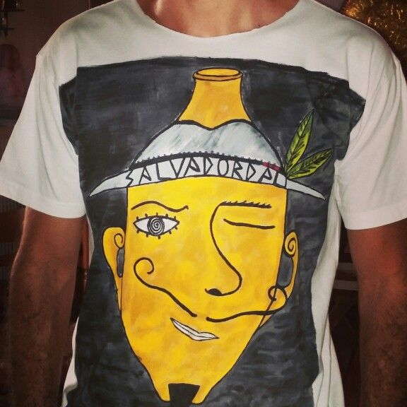 "Hand painted T- shirt ""Salvador Dali"" Cotton T-shirt, hand painted."