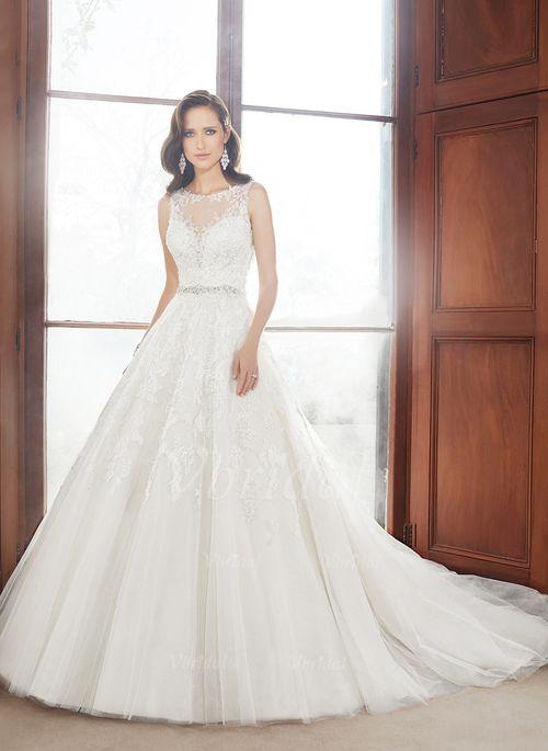 Bröllopsklänningar - $246.93 - Balklänning Rund-urringning Domkyrkan Tåg Tyll Bröllopsklänning med Pärlbrodering Applikationer Spetsar (0025060286)