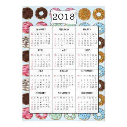 2018  Calendar Magnet Chocolate Donuts Background - invitations custom unique diy personalize occasions