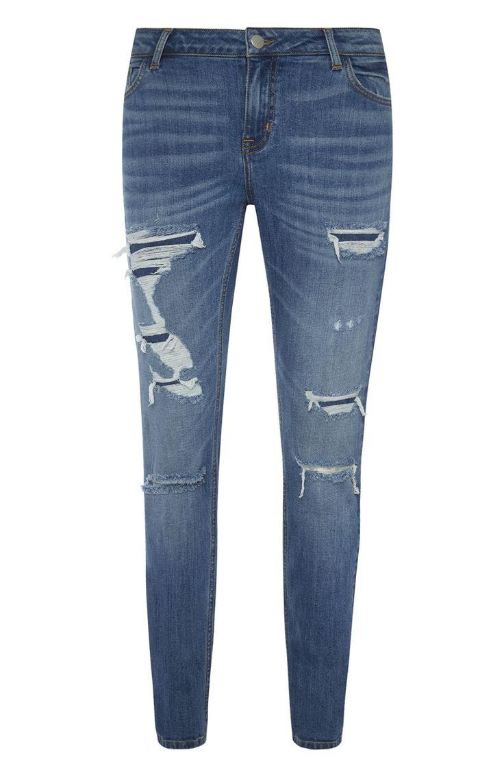 Primark - Blauwe jeans met scheuren en herstel-accenten