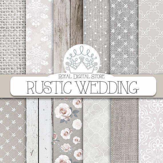 "Wedding digital paper :"" RUSTIC WEDDING "" with white wedding background, wedding textures for wedding invites, wedding cards"