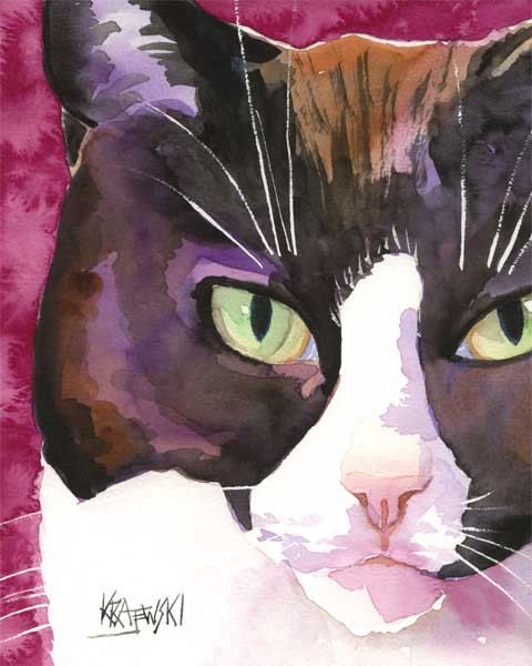Tuxedo Cat Art Print of Original Watercolor by dogartstudio