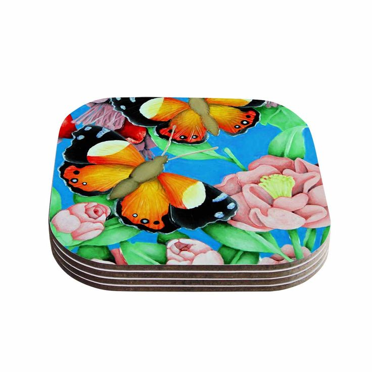 "Vinny Thompson ""Yellow Admiral"" Multicolor Tropical Coasters (Set of 4)"