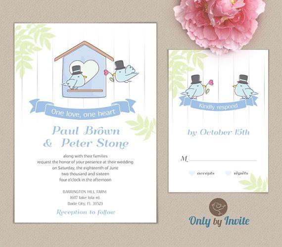 Gay Wedding Invitation And RSVP Card Set