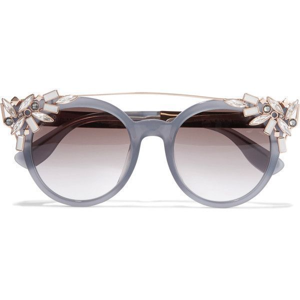 bdf8dbf90e Jimmy Choo Vivy embellished round-frame acetate and gold-tone... ( 545) ❤  liked on Polyvore featuring accessories