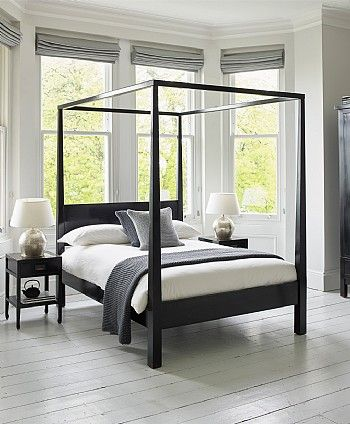 Modern 4 Poster Bed - Four Poster Bed Black Lacquer