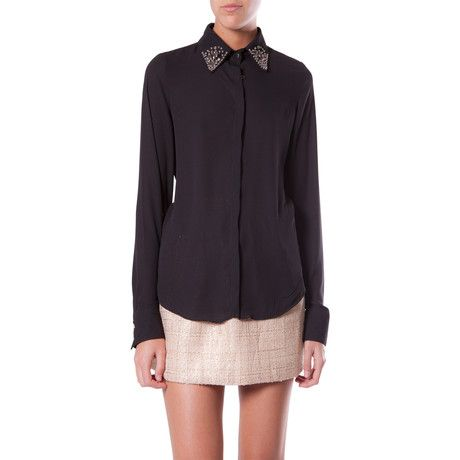 Strass Shirt with embellished collar black by Q2