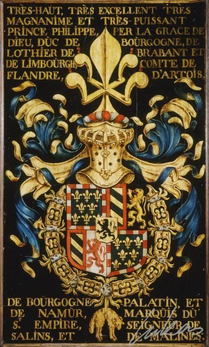 """(1) Philippe III le Bon, duc de BOURGOGNE (1396-1467) -- """"Très-haut, très excellent, très magnanime et très-puissant prince Philippe, per la grace de Dieu, duc de Bourgogne, de Lothier, de Brabant et de Limbourgh, comte de Flandre, d'Artois, de Bourgogne palatin, et de Namur, marquis du St. Empire, seigneur de Salins, et de Malines""""-- Armorial plate from the Order of the Golden Fleece, painted by Pierre Coustain, 1445, Saint Bavo Cathedral, Gent"""