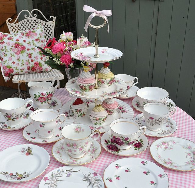 Vintage Tea Set and 3 Tier Cake Stand by cake-stand-heaven, via Flickr