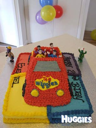 My son absolutley loved the wiggles when he turned 2 so I spent hours researching how to make a cake big enough for all of our family and friends. This was the outcome!