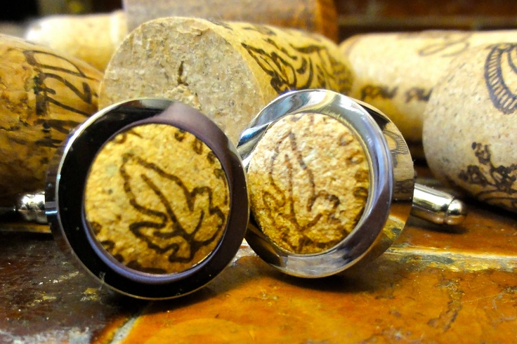 Cool Cufflinks - Bacchus Wine Cork Cufflinks. $45.00, via Etsy.