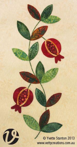 Pomegranate embroidery Applique Panel with Yvette Stanton   workshop (Australia)