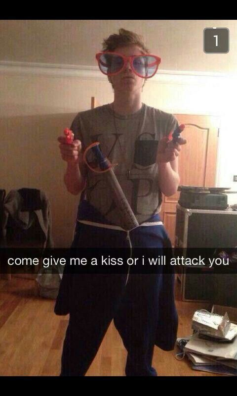 Imagine luke sending you this snapchat while you guys are on break from tour