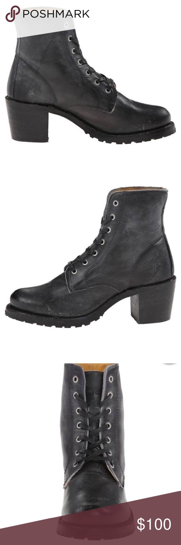 Frye Black Lace up Boot Short, gently worn, pics are not exact match but very close. Frye Shoes Ankle Boots & Booties