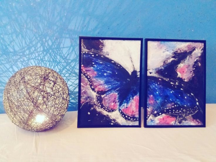 Butterfly effect - a 2 piece painting by Anna Madarasz